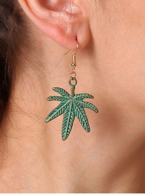 trendy Alloy Leaves Shape Hook Earrings - GREEN  Mobile