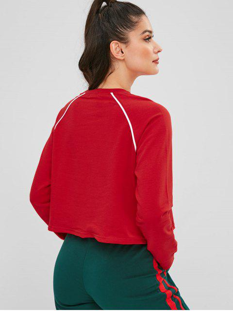 shops Piping Drawstring Hem Graphic Sweatshirt - RED ONE SIZE Mobile