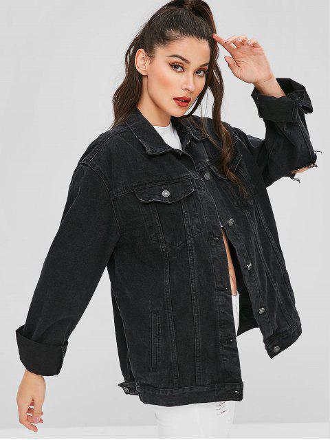 lady Destroyed Boyfriend Denim Jacket - BLACK M Mobile