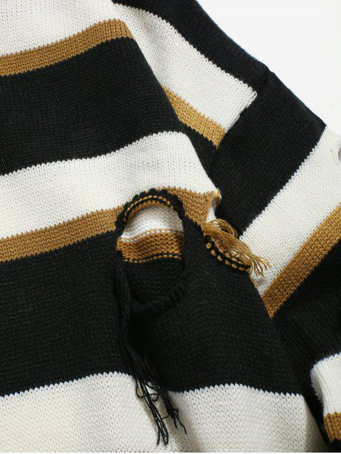 trendy Round Hole Striped Knit Sweater - CINNAMON M Mobile