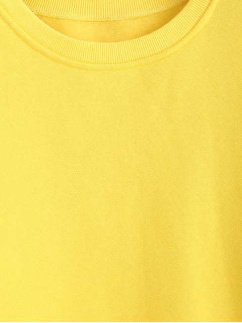 latest Side Slit Faux Twinset Sweatshirt - YELLOW M Mobile
