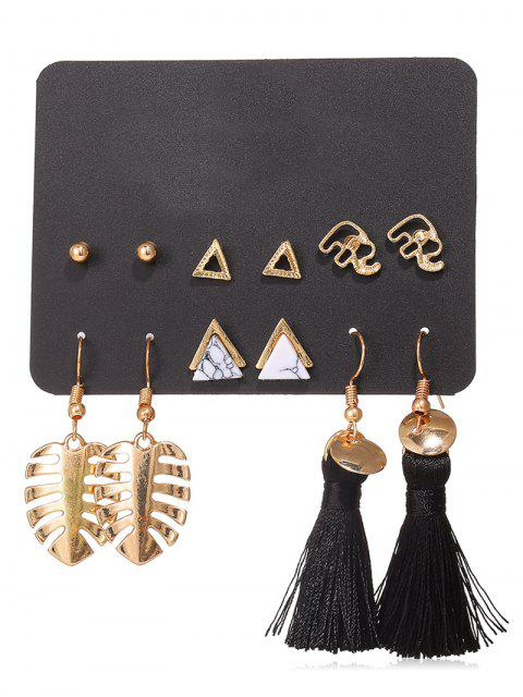 fashion Leaf Shape Tassel Stud 6Pcs Earring Set - GOLD  Mobile