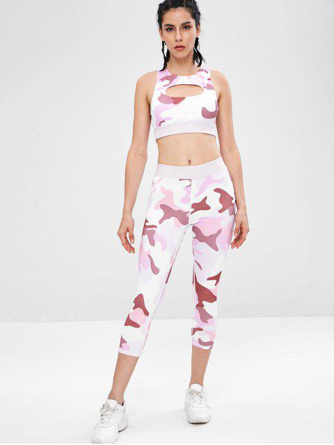 Camouflage Racerback Gym BH und Leggings Anzug - Multi L Mobile