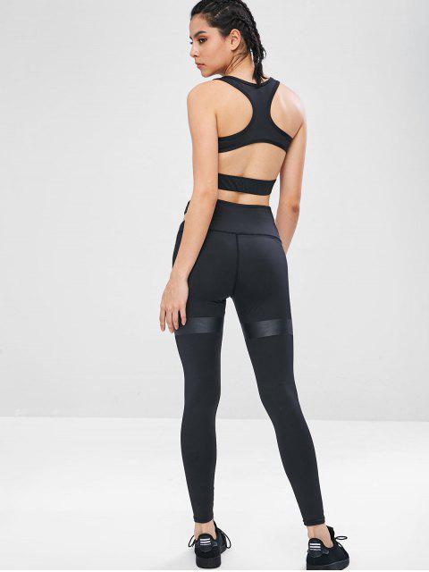 Schneiden Sie Yoga Gym BH und Leggings Set - Schwarz M Mobile