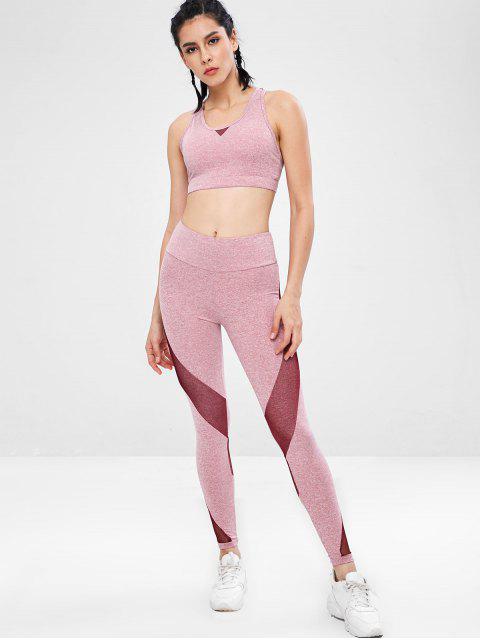 trendy Space Dye Racerback Gym Bra and Leggings Suit - PINK L Mobile