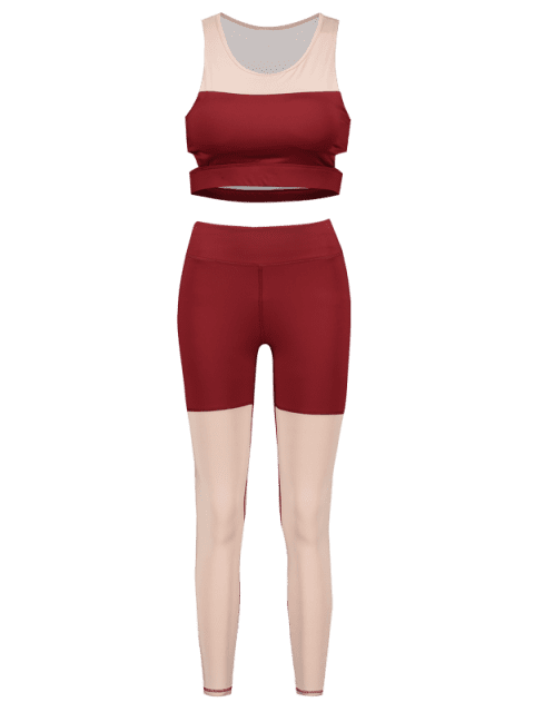 shops Two Tone Yoga Gym Bra and Leggings Set - RED L Mobile