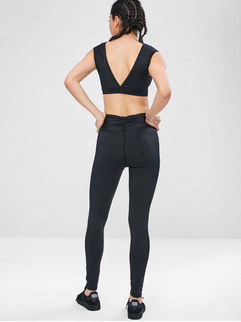 trendy Gym Sport Knot Bra and Leggings Set - BLACK L Mobile