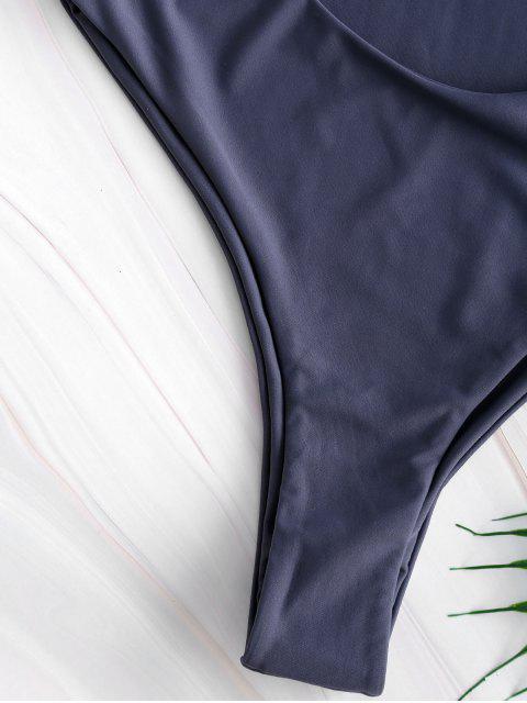 fashion Tie Front Cutout High Leg Swimsuit - LIGHT SLATE GRAY S Mobile