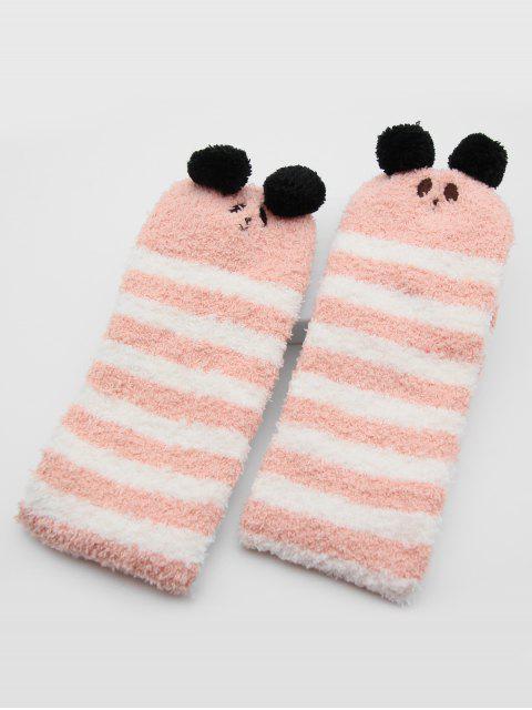 lady Christmas Elk Striped Fuzzy Floor Socks - PINK  Mobile