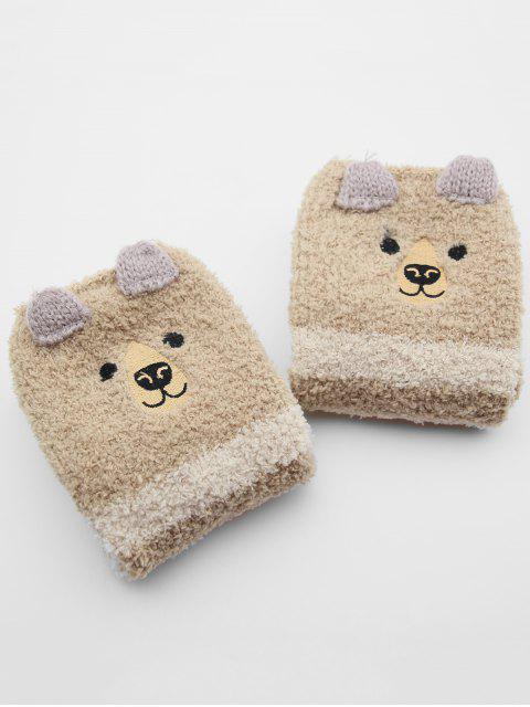 ladies Christmas Elk Striped Fuzzy Floor Socks - KHAKI  Mobile