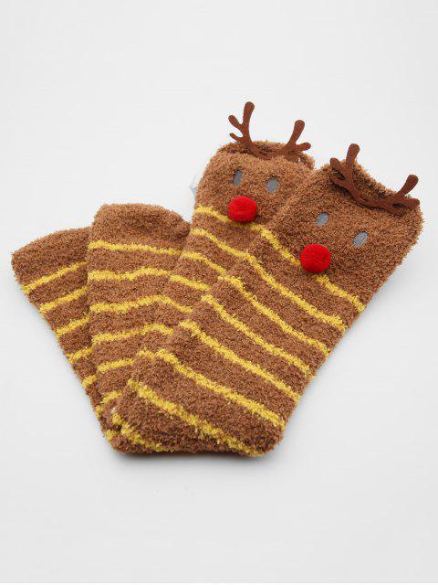 women's Christmas Elk Striped Fuzzy Floor Socks - COFFEE  Mobile