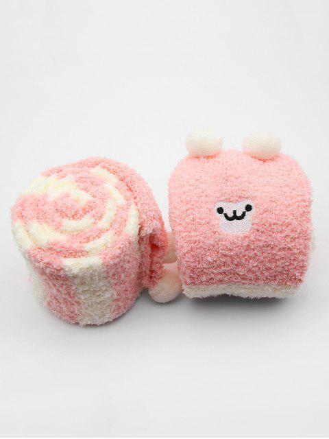 fancy Cute Animal Color Block Fuzzy Socks - PINK  Mobile