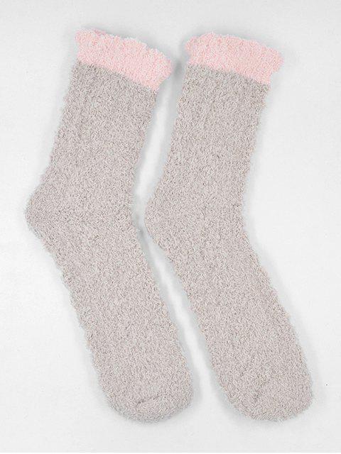 new Winter Fuzzy Simple House Socks - LIGHT KHAKI  Mobile