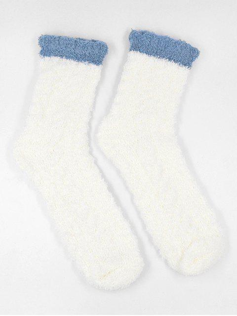 ladies Winter Fuzzy Simple House Socks - WHITE  Mobile