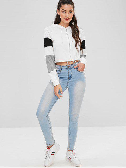 womens Color Block Zip Up Hoodie - WHITE L Mobile