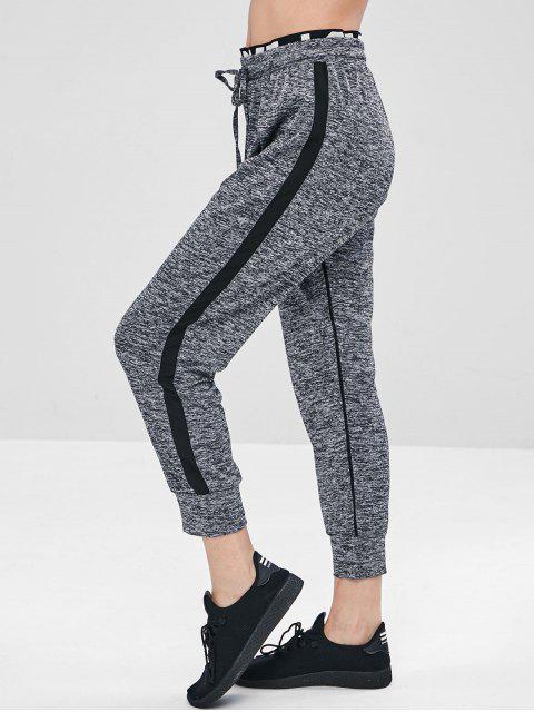 chic Marl Layered Waistband Joggers Pants - GRAY XL Mobile