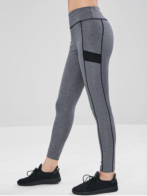 unique Paneled Marl Sports Leggings - GRAY XL Mobile