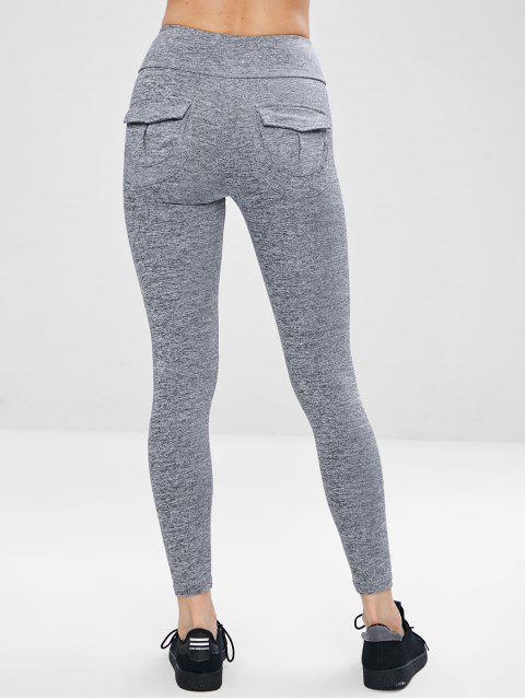 affordable Pocket Space Dye Workout Gym Leggings - GRAY L Mobile