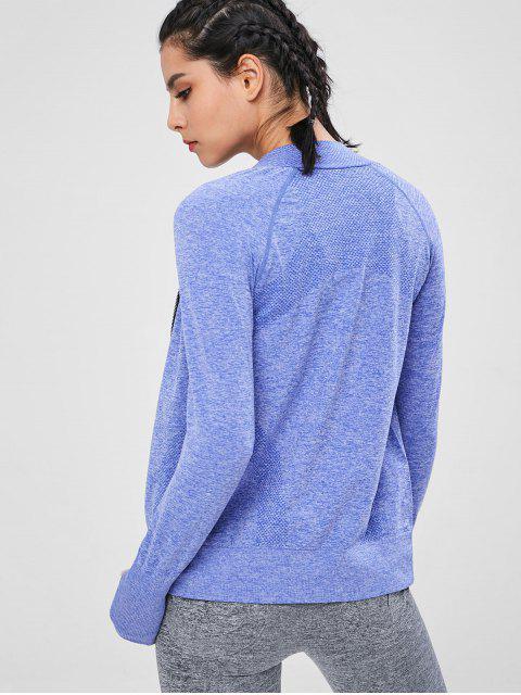 Veste de Survêtement de Sport Teinté Sans Couture - Bleu Ciel L Mobile