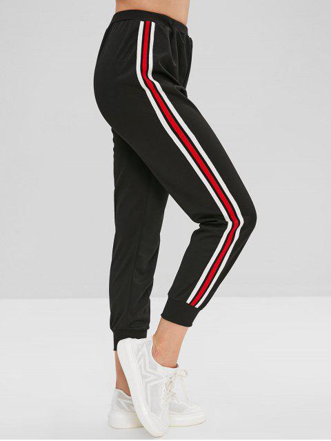 women's Striped Side Jogger Pants - BLACK L Mobile