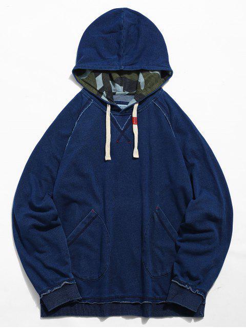 Sweat à Capuche Cousu avec Poche - Bleu Foncé Toile de Jean L Mobile