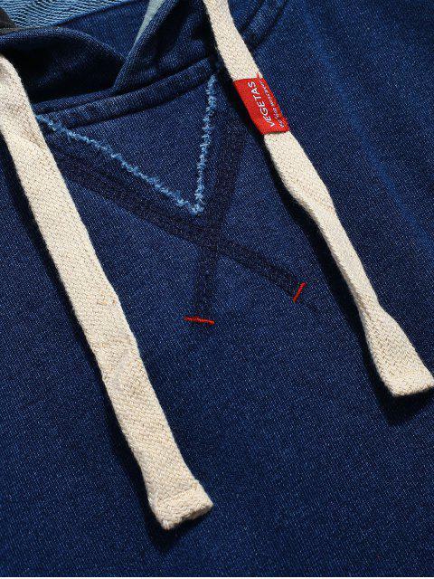 hot Pocket Seam Pullover Hoodie - DENIM DARK BLUE L Mobile