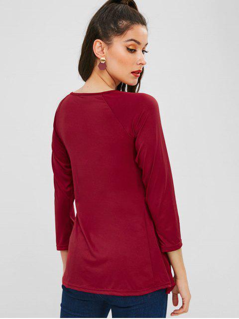 T-shirt Simple Plissé à Taille Haute - Rouge Vineux S Mobile