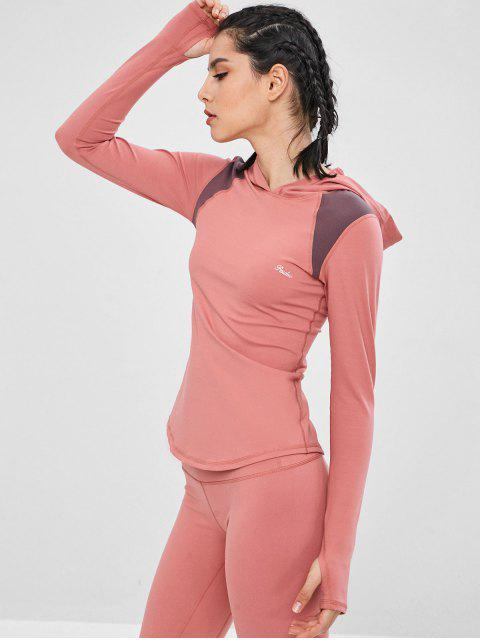 Kontrastfarbenes, sportliches Top mit Kapuze - Flamingo Rosa M Mobile