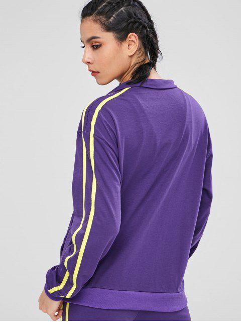 shops Zip Up Running Track Training Jacket - PURPLE ONE SIZE Mobile