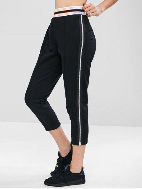 Pantalon de Survêtement de Gym Zippé à Taille Rayée - Noir M Mobile