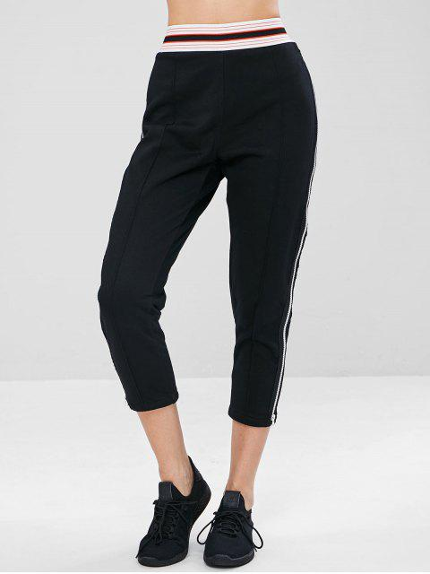 Pantalon de Survêtement de Gym Zippé à Taille Rayée - Noir L Mobile