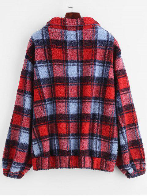 ZAFUL Manteau d'Hiver Teddy Fourré Zippée à Carreaux - Rouge Lave L Mobile