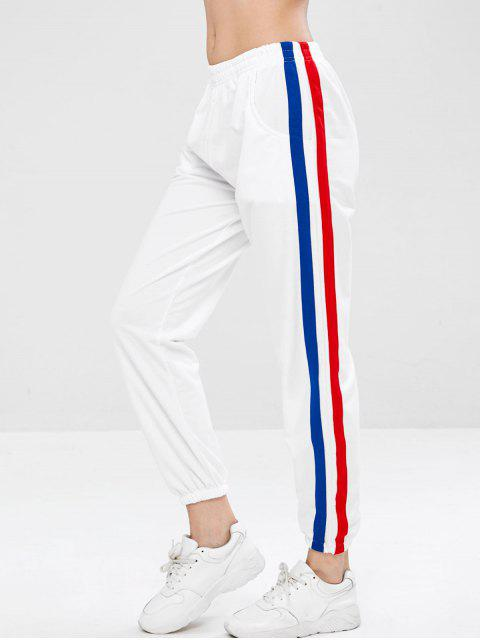 chic Side Tape Track Jogger Pants - WHITE L Mobile