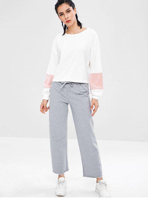 ZAFUL Color Block - Schulterfreies Sweatshirt - Weiß S Mobile