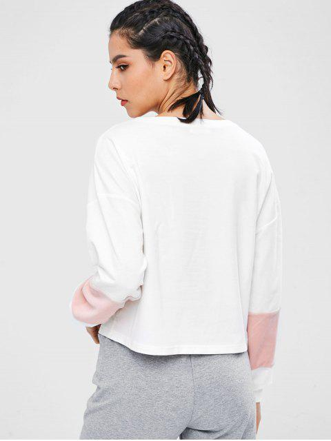 ZAFUL Sweat-shirt Décontracté en Blocs de Couleurs à Goutte Epaule - Blanc L Mobile
