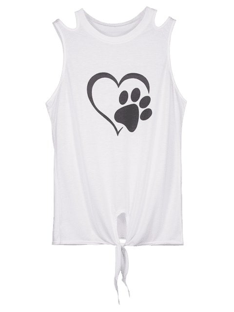 sale Knotted Hem Heart Paw Print Tank Top - WHITE M Mobile