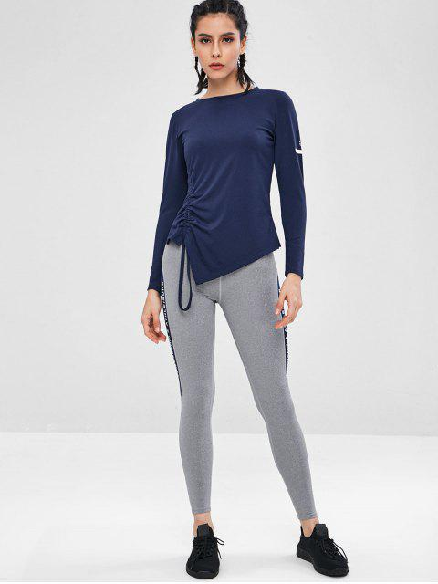hot Gathered Side Long Sleeve Sports Top - DEEP BLUE L Mobile