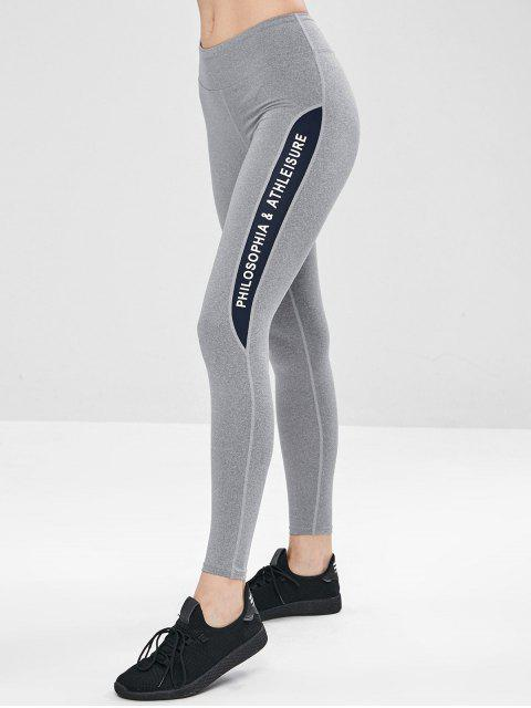 outfits Contrast Graphic Sports Leggings - GRAY L Mobile