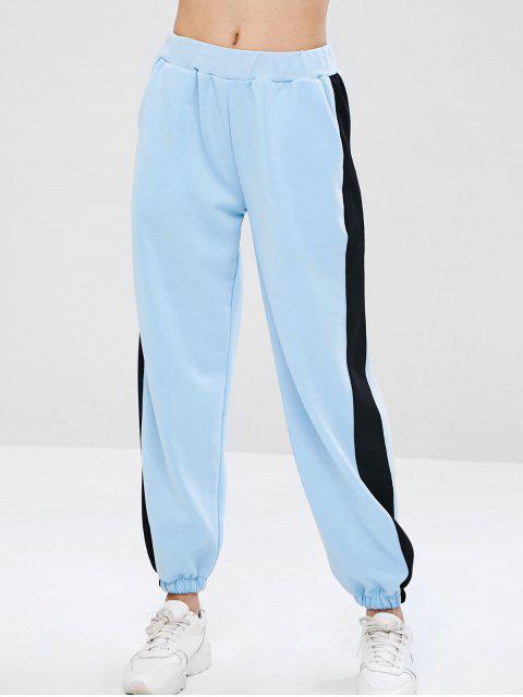 best Paneled Joggers Jersey Track Pants - LIGHT BLUE M Mobile