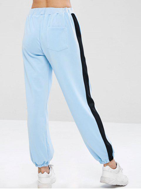 online Paneled Joggers Jersey Track Pants - LIGHT BLUE L Mobile