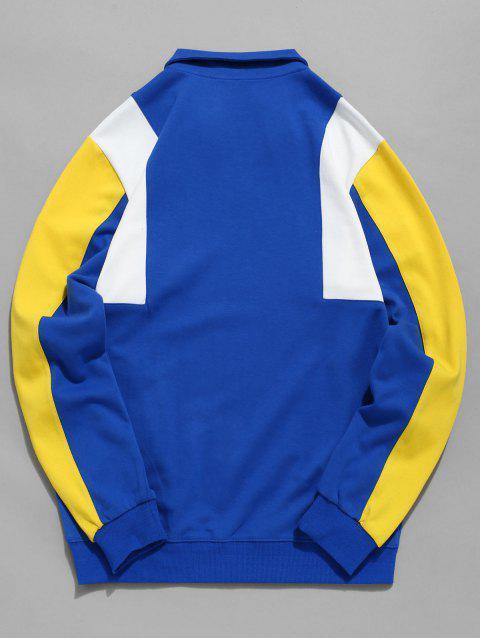 Sweat-shirt en Couleur Contrastée avec Zip en Haut - Bleu M Mobile