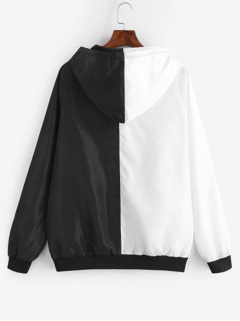 ZAFUL Veste à Capuche Zippée en Couleur Contrastée à Cordon - Blanc 2XL Mobile