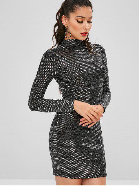 chic High Neck Sequined Fitted Dress - BLACK ONE SIZE Mobile