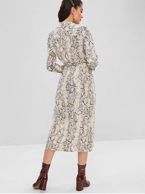hot Belted Snake Print Shirt Dress - MULTI L Mobile