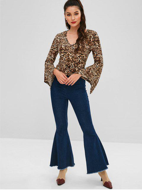 new Flare Sleeve Leopard Knotted Blouse - LEOPARD S Mobile