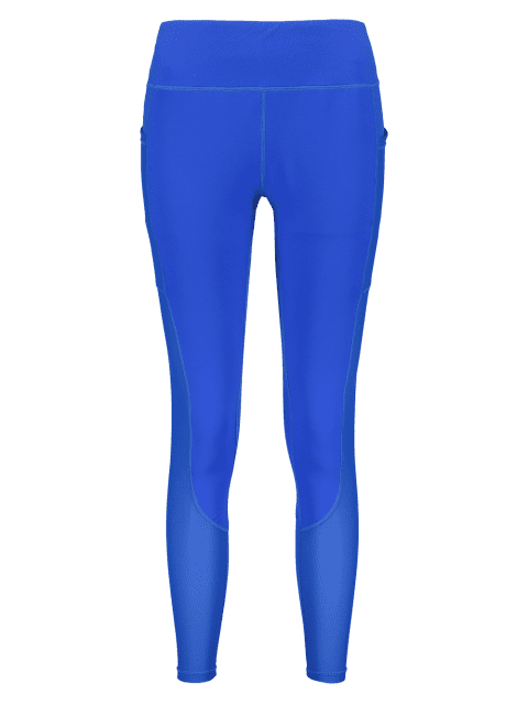 fancy ZAFUL Workout Perforated Pocket Gym Leggings - BLUE L Mobile