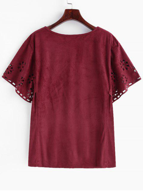 hot Openwork Faux Suede Plus Size Tee - RED WINE 3X Mobile