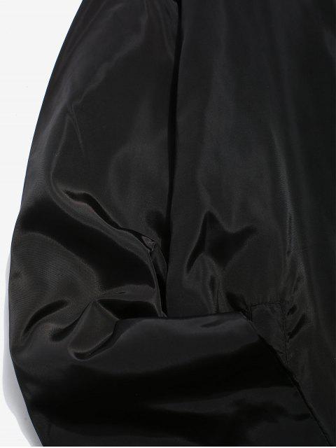 fashion Solid Snap Button Windbreaker Jacket - BLACK 2XL Mobile