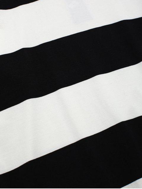T-shirt Rayé Contrasté à Manches Longues - Blanc M Mobile