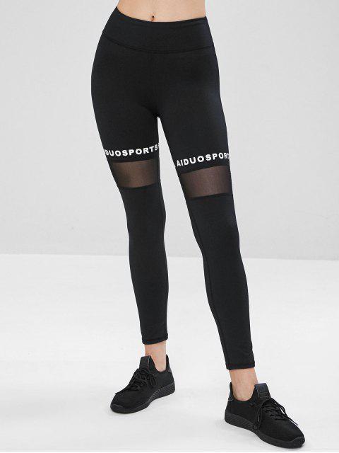 buy Graphic Mesh Sports Leggings - BLACK L Mobile